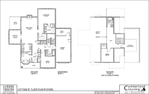 Cottage Floor Plan B with Stairs | Retirement Cottage House Plans