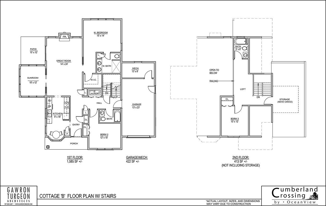 Cottage Floor Plan B with Stairs
